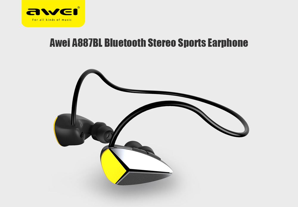 Awei A887BL Wireless In-ear Sweatproof Earphone Bluetooth Stereo Sports Earbuds - Black