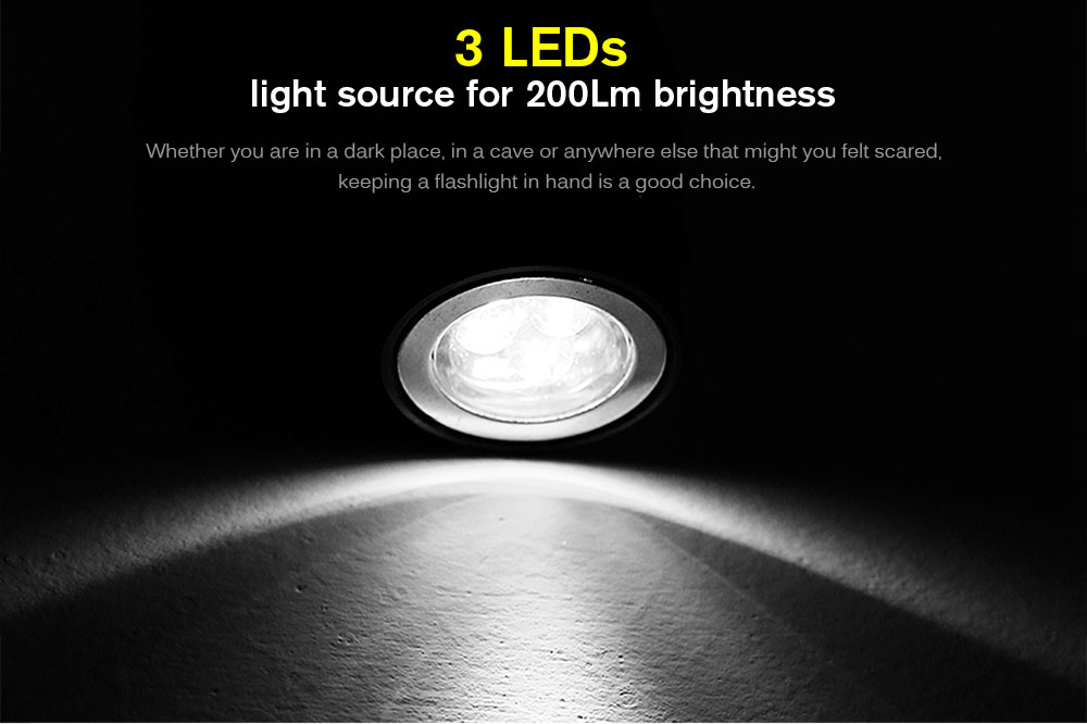 200LM Single Modes Flexible LED Multifunctional Flashlight for Camping / Hiking / Cycling ( 4 x LR44 Battery )- Black