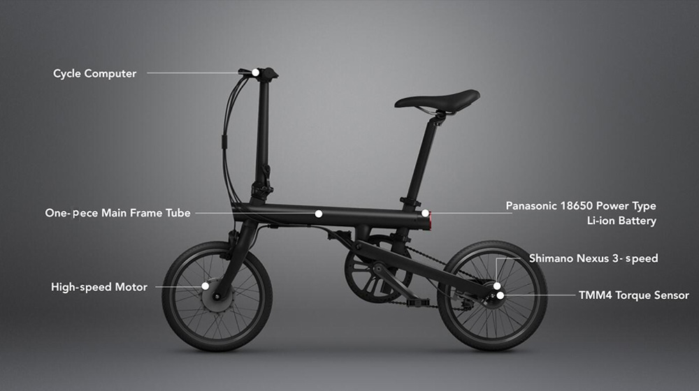 QICYCLE TDR01Z Smart Folding Bike Electric Moped Bicycle from Xiaomi Youpin / International Version- Black