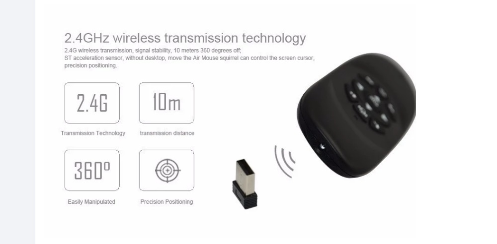 C120 Air Mouse Remote Control with Microphone Function- Black