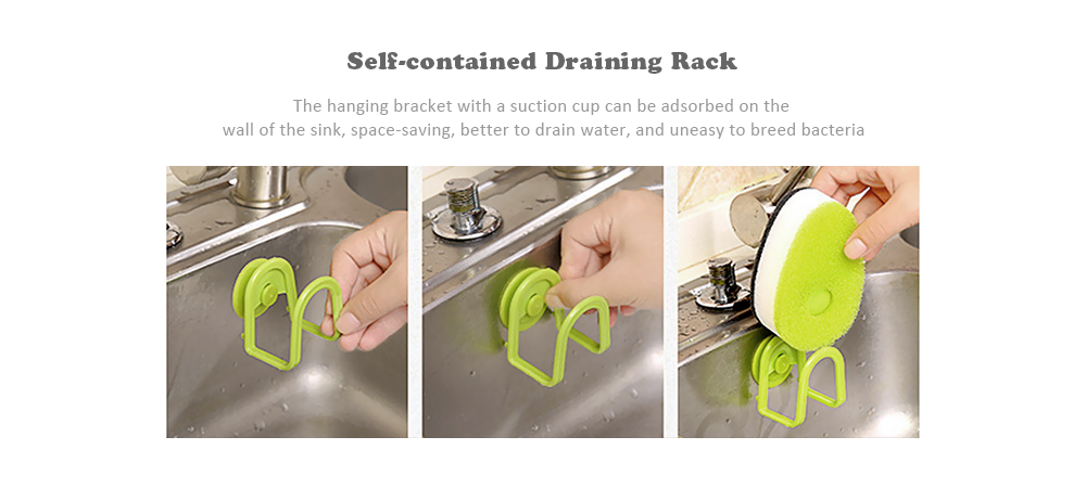 Double-faced Sponge Brush with Holder Soap Capsule for Kitchen Bathroom Cleaning 3PCs- Frog Green
