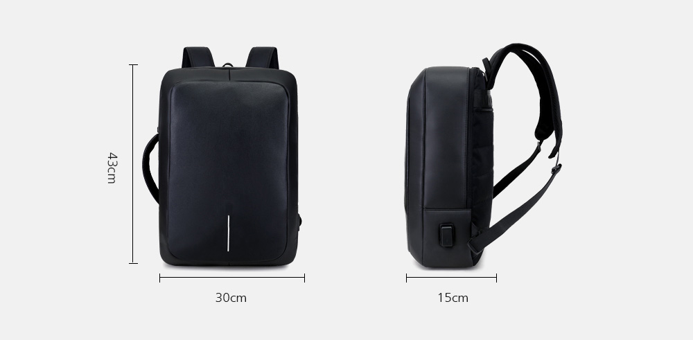 3fd4e218ce44 Business Backpack 17 inch Laptop Anti-theft Bag with USB Charging Port-  Black