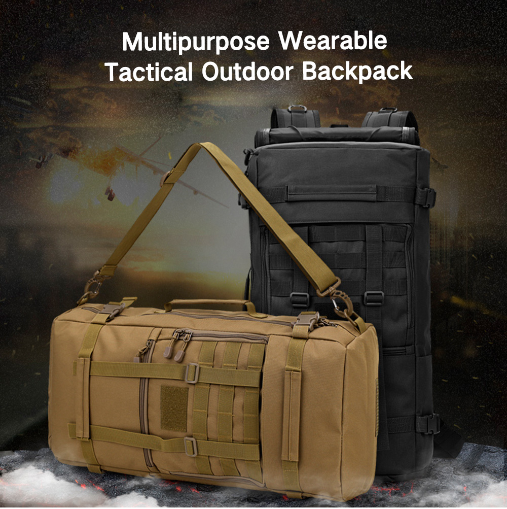 Men Wearable Tactical Outdoor Backpack- Woodland Camouflage