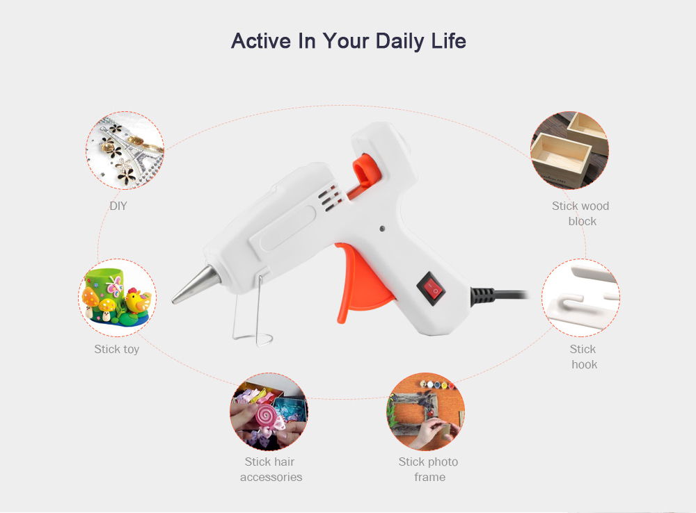 Durable Hot-melt Best Glue Gun with Switch 30W for Crafting- White EU Plug