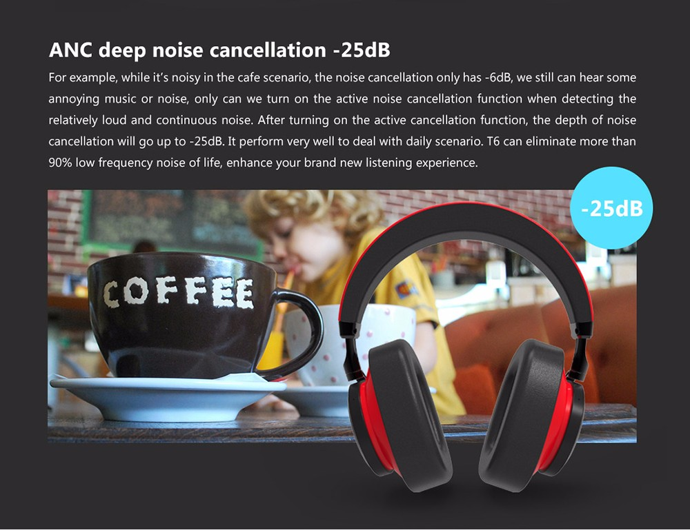 Bluedio T6 Active Noise Cancelling Headphone Wireless Bluetooth Headset with Microphone- Yellow
