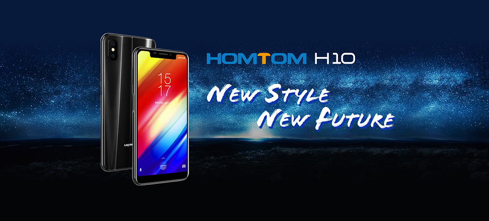 Homtom H10 4G Phablet 5.85 inch Android 8.1 MTK6750T Octa Core 1.5GHz 4GB RAM 64GB ROM 16.0MP + 2.0MP Rear Camera Fingerprint Sensor 3500mAh Built-in- Black