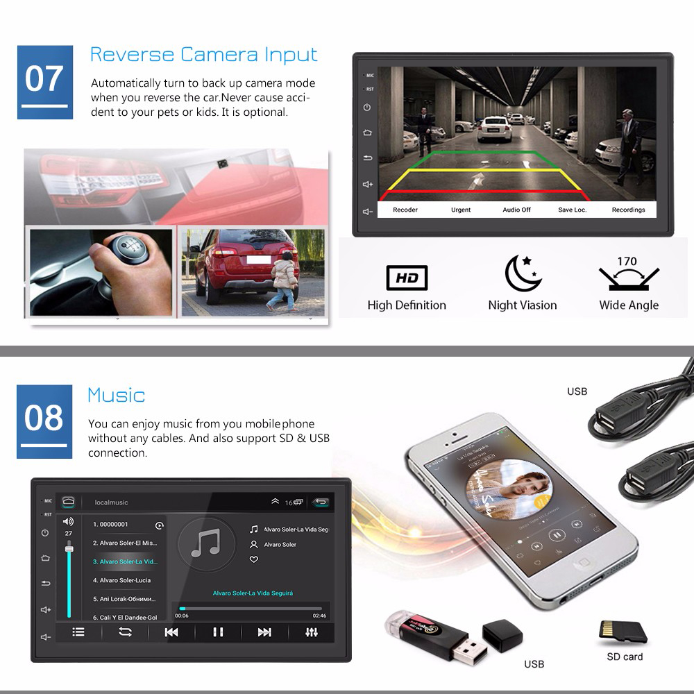 ML - CK1018 7.0 inch Touchscreen 2 DIN Car Multimedia Player Bluetooth Built-in GPS Navigator FM Station WiFi Connection- Black