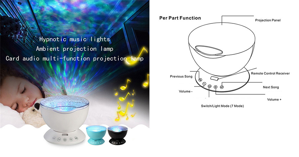 Projector Night Light Colorful Music Atmosphere Lamp with Remote Control- Blue Diamond