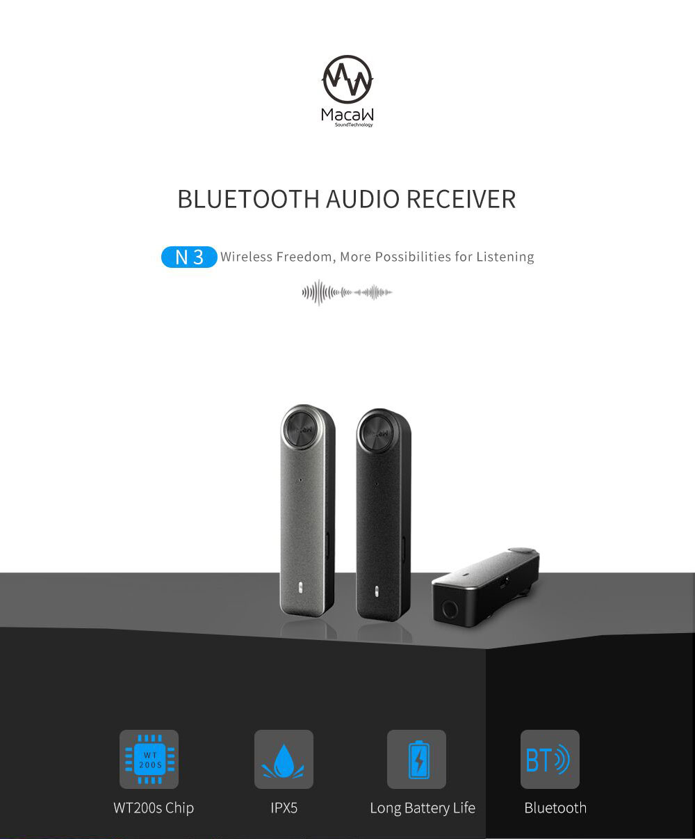 Macaw N3 IPX5 Waterproof Wireless Bluetooth Audio Receiver Adapter 3.5mm Jack with Mic for Home Car Speaker Amplifier- Black