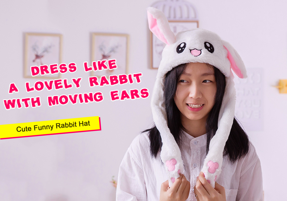 64c376be3ef Funny Bunny Hat with Pop-Up Ears When Pressing Paws