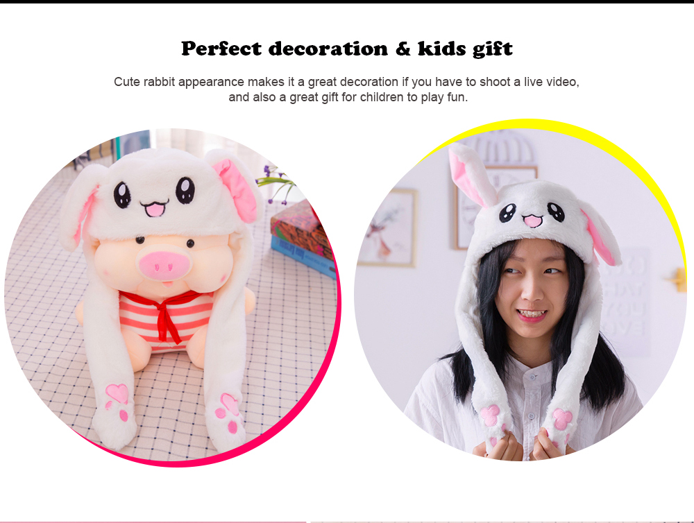 01de2a4525437 Funny Bunny Hat with Pop-Up Ears When Pressing Paws