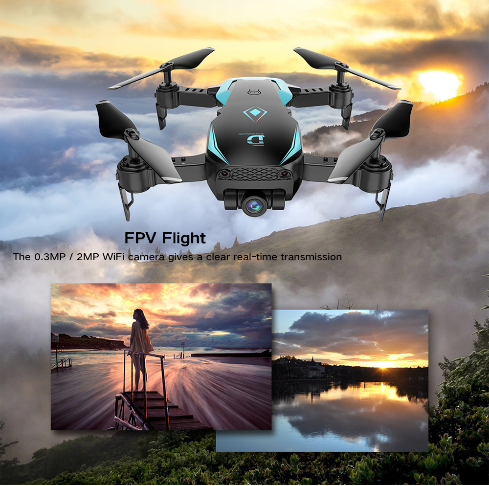 X12 WiFi FPV RC Drone Altitude Hold Wide-angle Lens Waypoints Follow Headless Mode One Key Return / Takeoff / Landing- White 720P Camera