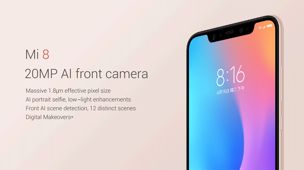 Xiaomi Mi 8 4G Phablet 6.21 inch Android 8.1 Snapdragon 845 Octa Core 2.8GHz 6GB RAM 64GB ROM Fingerprint Sensor 3400mAh Built-in- Blue