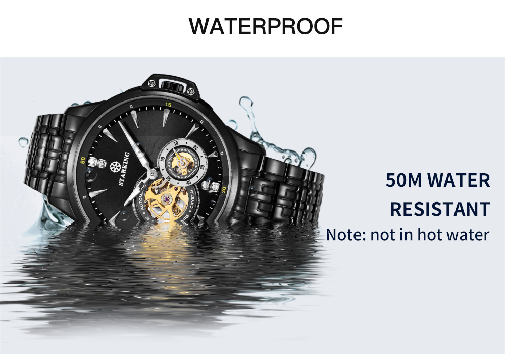 2cad9d43f STARKING AM0217 Stainless Steel Mechanical Watch 50M Waterproof Sport  Wristwatch- Rose Gold