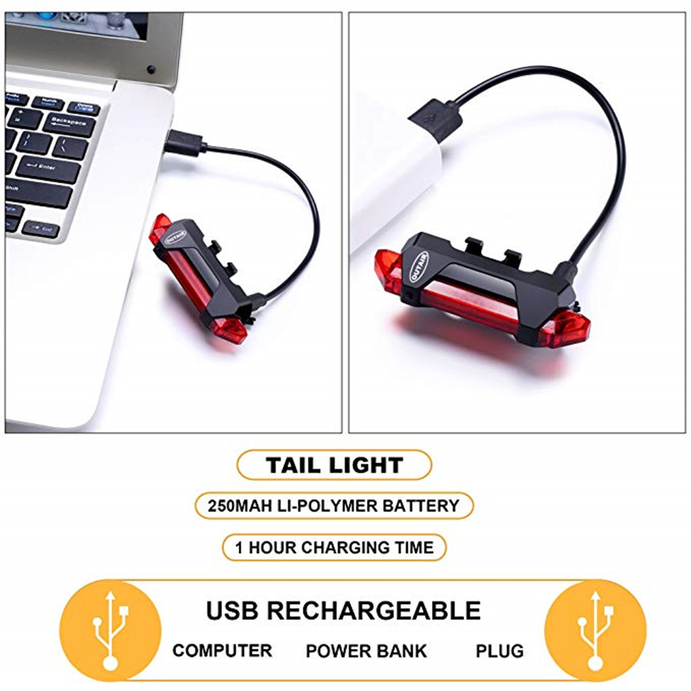787772857af USB Rechargeable Bicycle Light Front And Tail Head Back Flashing Safety-  Black