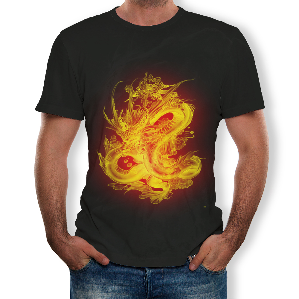 Men New Large Size Casual Fire Dragon 3d Printing T Shirt 1436