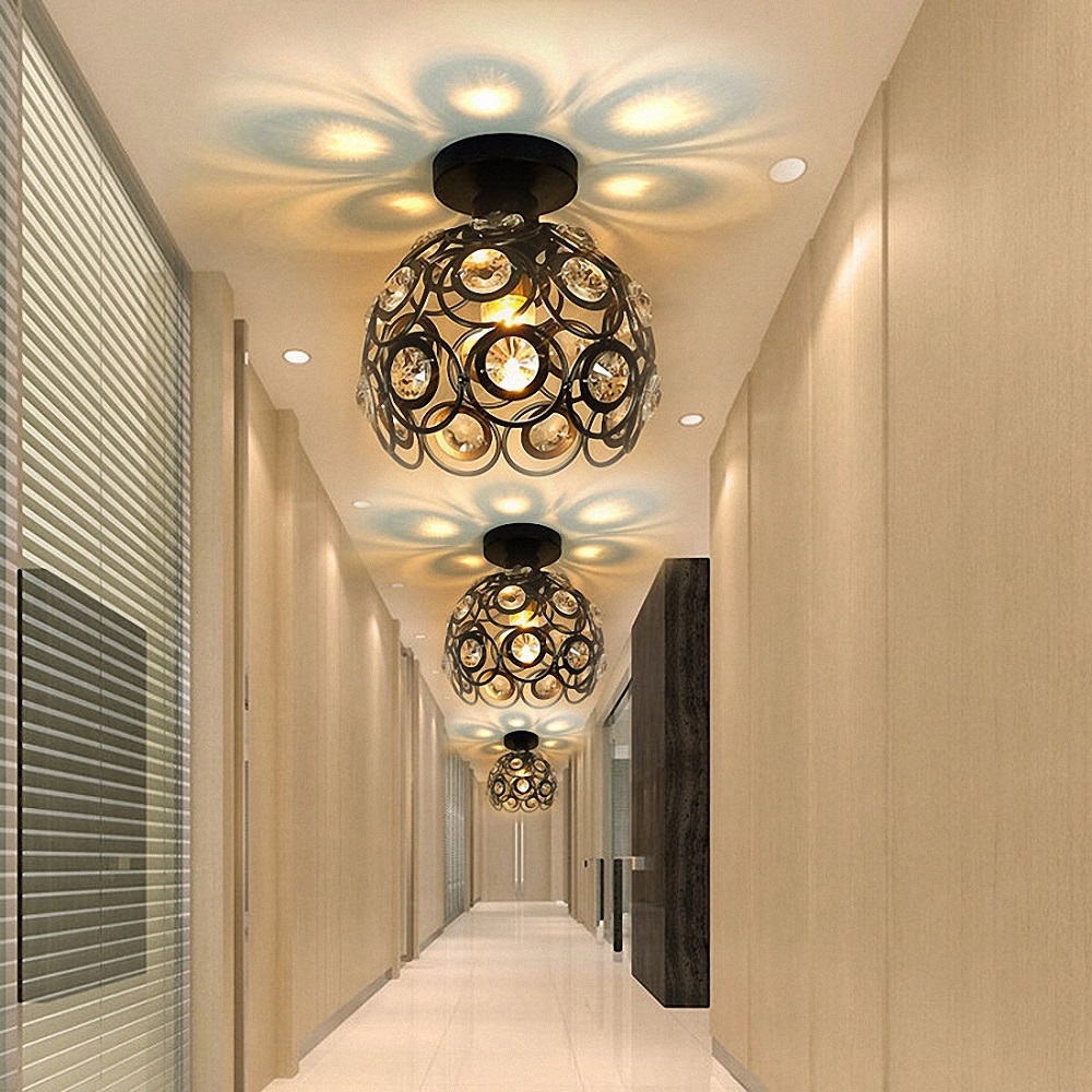E27 Iron Crystal Chandelier Ceiling Lamp Light for Bedroom Hallway Kitchen Alley- White