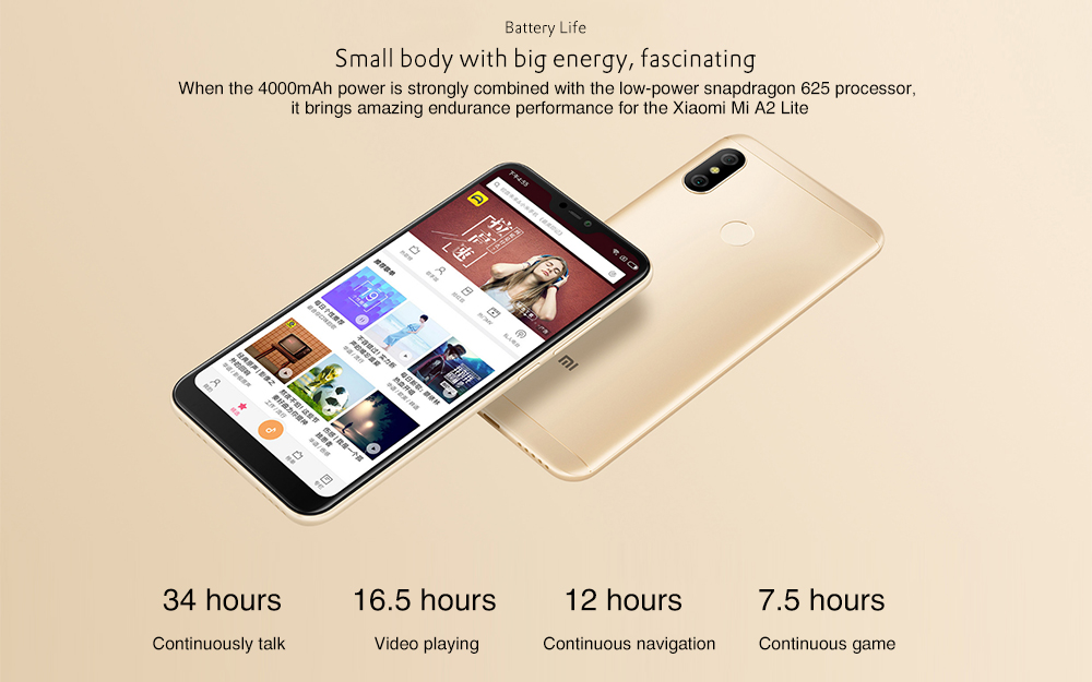 Xiaomi Mi A2 Lite 4G Phablet 5.84 inch Android 8.1 Snapdragon 625 Octa Core 2.0GHz 4GB RAM 64GB ROM 12.0MP + 5.0MP Dual Rear Cameras Fingerprint Sensor 4000mAh Built-in- Gold