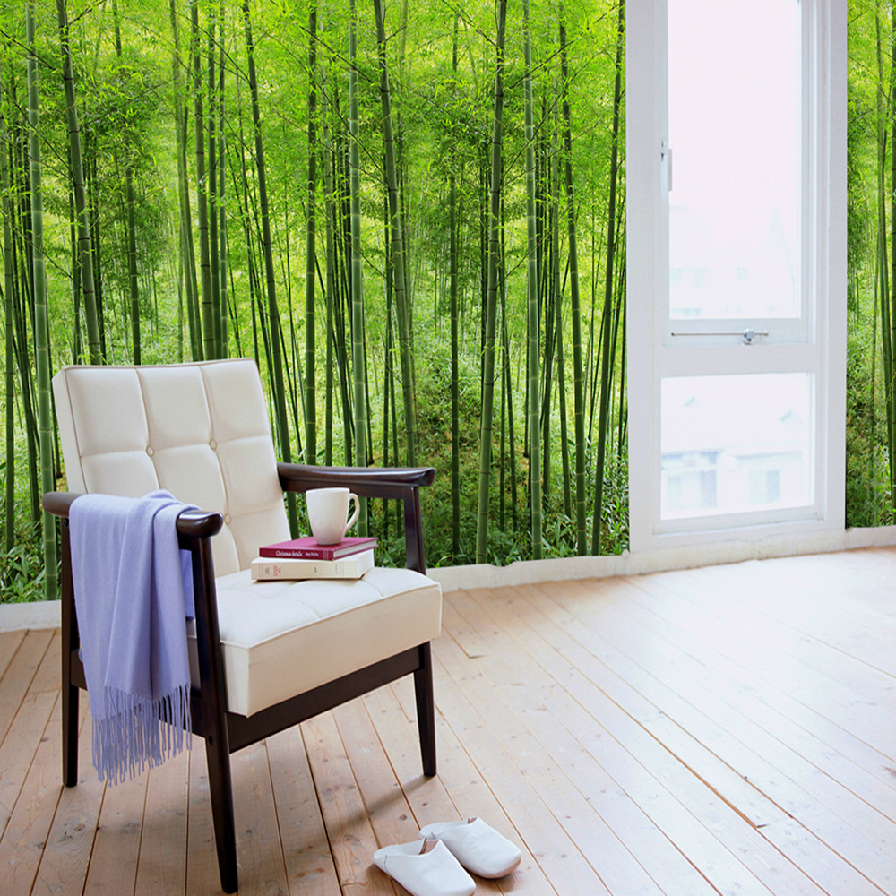Green Bamboo Forest Mural Mural Canvas Wall Covering Adhesive