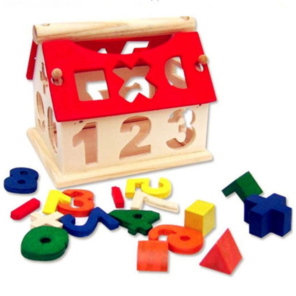 Wooden Digital Number House Building Toy Educational Intellectual Block- Multi-A