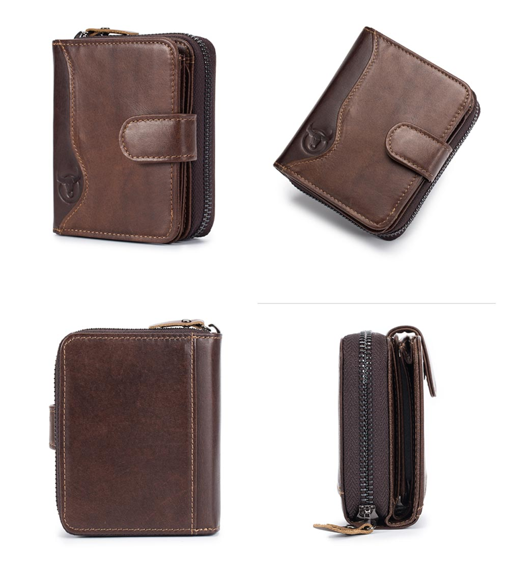 BULLCAPTAIN Genuine Leather Men Wallet Fashion Coin Purse Card Holder Small Wall- Brown Bear
