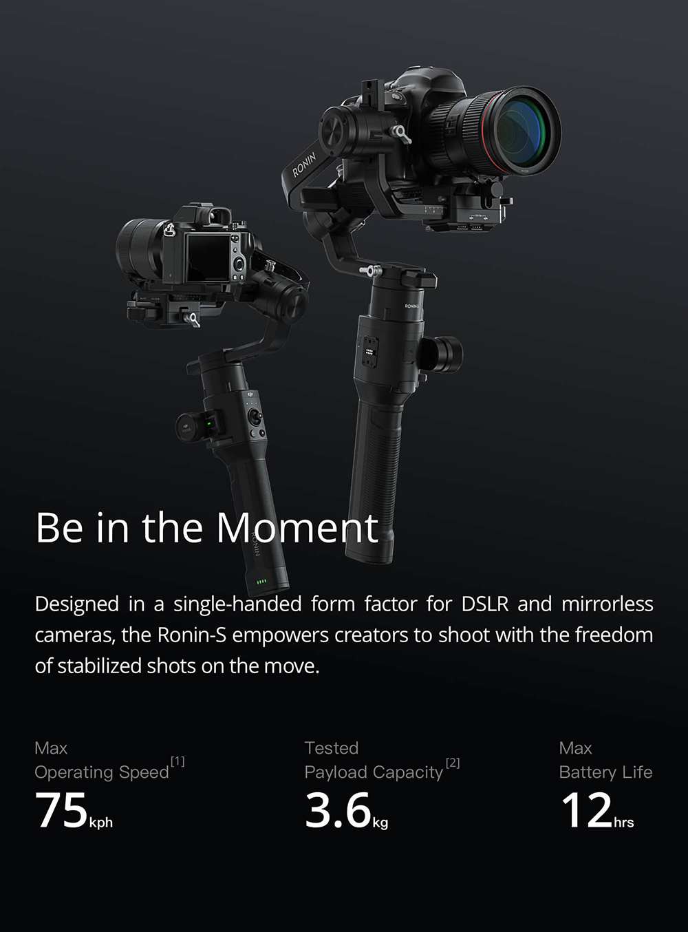 DJI RONIN - S 3-axis Handheld Gimbal Stabilizer for DSLRs and Mirrorless Cameras- Black