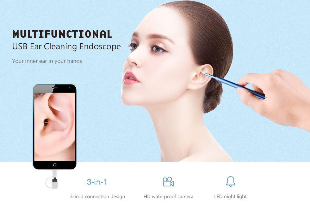 3 in 1 USB Charged Cleaning Endoscope Otoscope Camera Visual Ear Spoon Earpick- Windows Blue