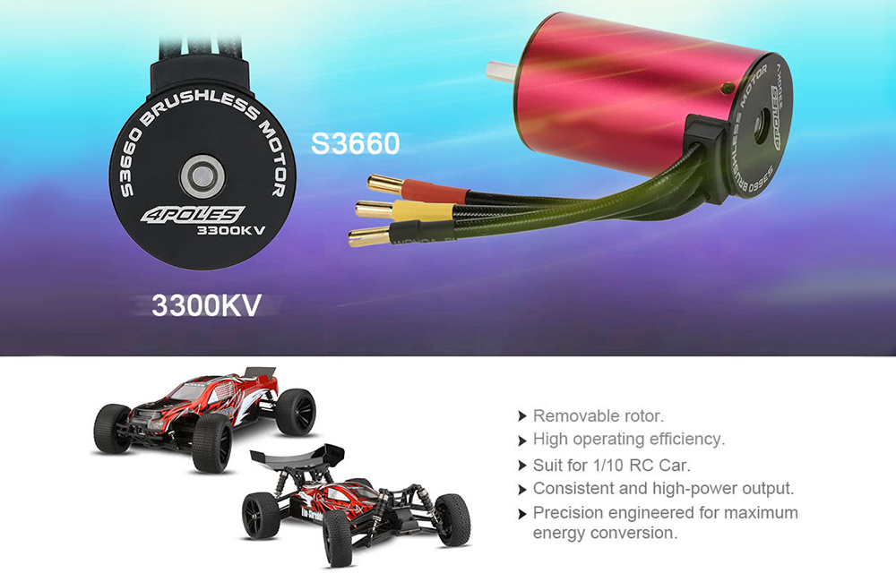 S3660 3300KV Brushless Motor for 1/10 RC Car Truck Accessory- Rose Red