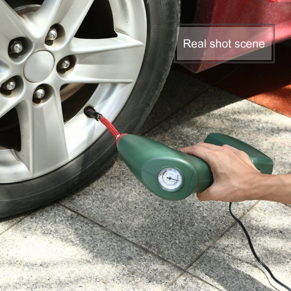 Portable Air Compressor Auto Tire Inflator Pump Car Tool Handheld for Outdoor- Army Green