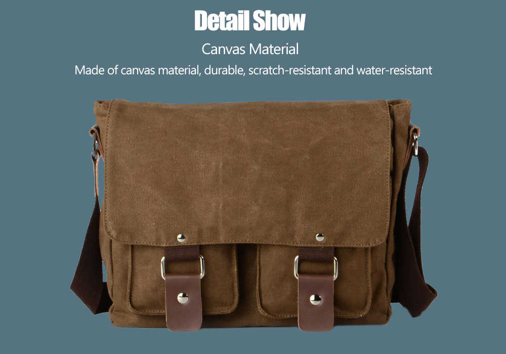 Stylish Wearable Cross Section Canvas Crossbody Bag for Men- Coffee