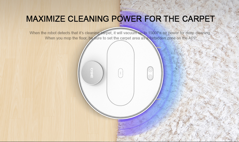 360 S6 Robotic Vacuum Cleaner Automatic Remote Control Cleaning Robot- White