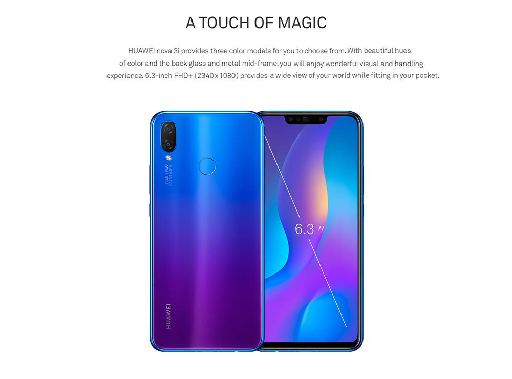 HUAWEI nova 3i 4G Phablet 6.3 inch Android 8.1 Kirin710 Octa Core 2.2GHz 4GB RAM 128GB ROM 16.0MP + 2.0MP Rear Camera Fingerprint Sensor 3340mAh Built-in- White