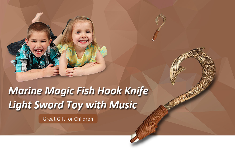 Marine Magic Fish Hook Knife Light Sword Toy with Music- Camel brown