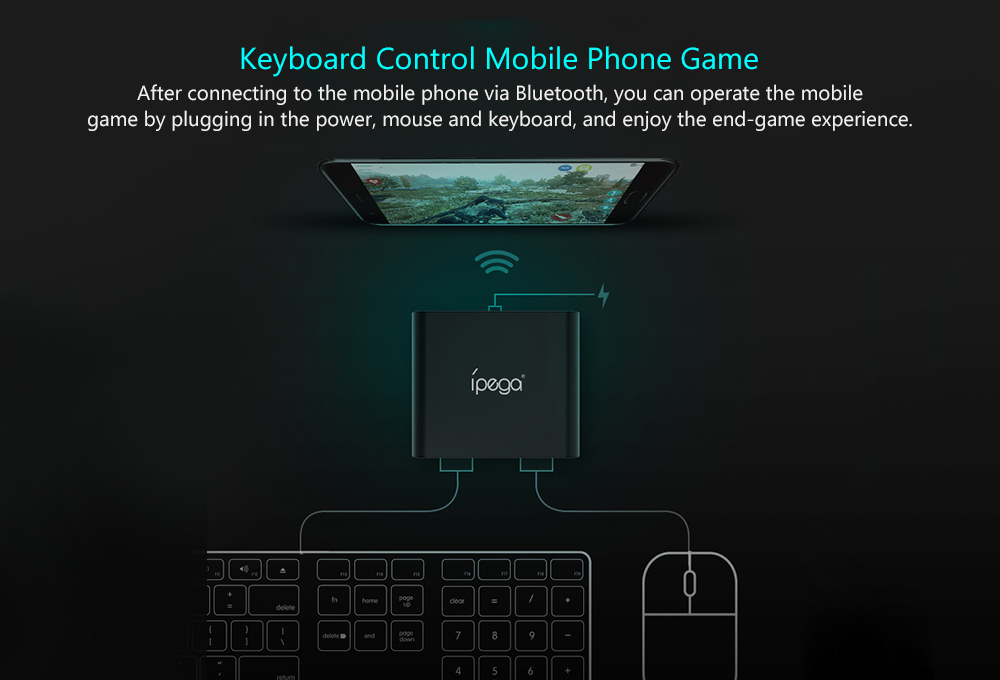 iPEGA PG - 9096 Bluetooth Keyboard and Mouse Adapter Converter