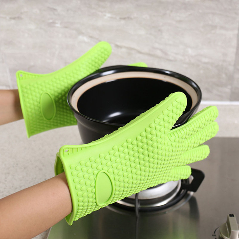 Silicone Gloves Kitchen Baking Anti-Scalding Insulation High Temperature 1PCS- Red