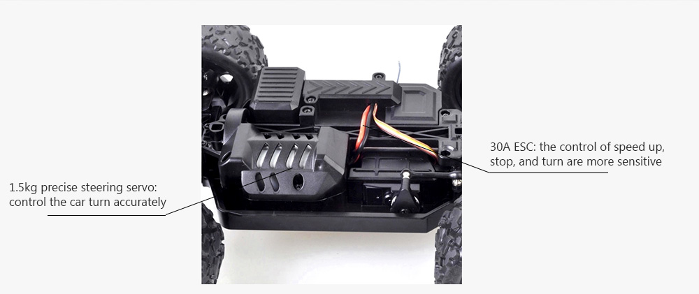HS18301 1/18 4WD RC Car Monster Truck 2.4G Control 36km/h 1.5kg Servo 30A ESC- Red