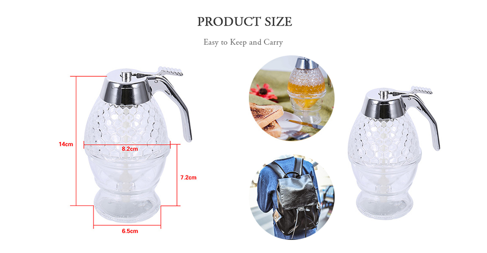 Acrylic Honey Syrup Dispenser Juice Drip Bottle Container for Kitchen- Transparent