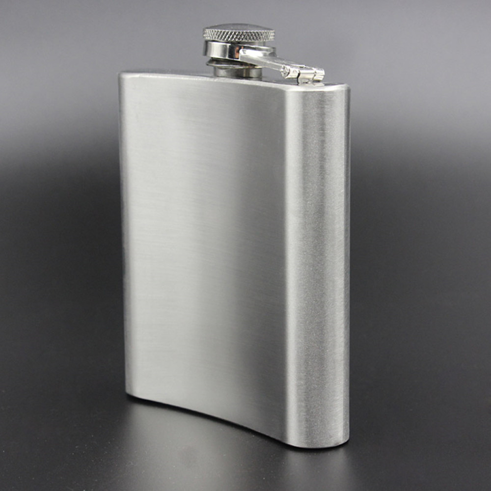 Metal Portable Flagon Stainless Steel Travel Whiskey Alcohol Liquor Male Bottle- Silver