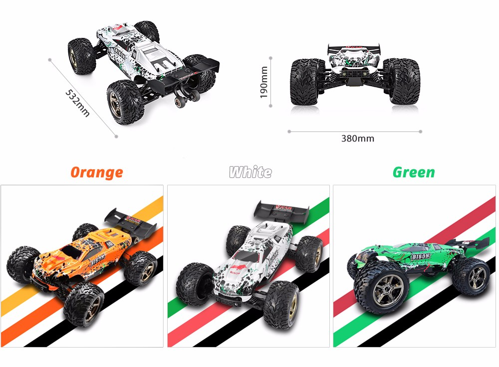 VKAR RACING BISON V2 1:10 80 - 90km/h 2.4GHz 2CH 4WD Waterproof Brushless RC Truck - RTR- Orange with HobbyWing MXA10 RTR 120A ESC