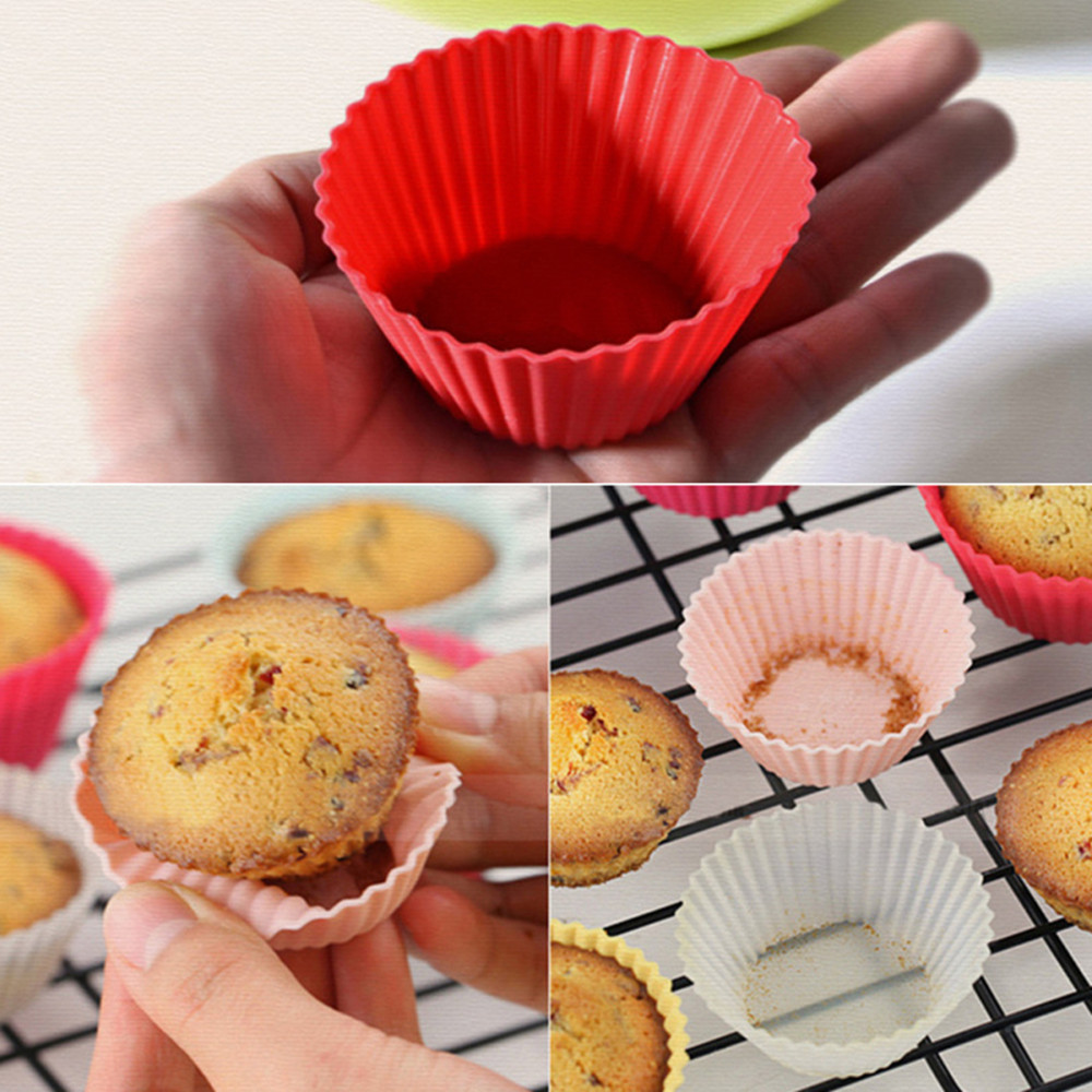 Round Silicone Baking High Temperature Cake Mould 9PCS- Multi-A
