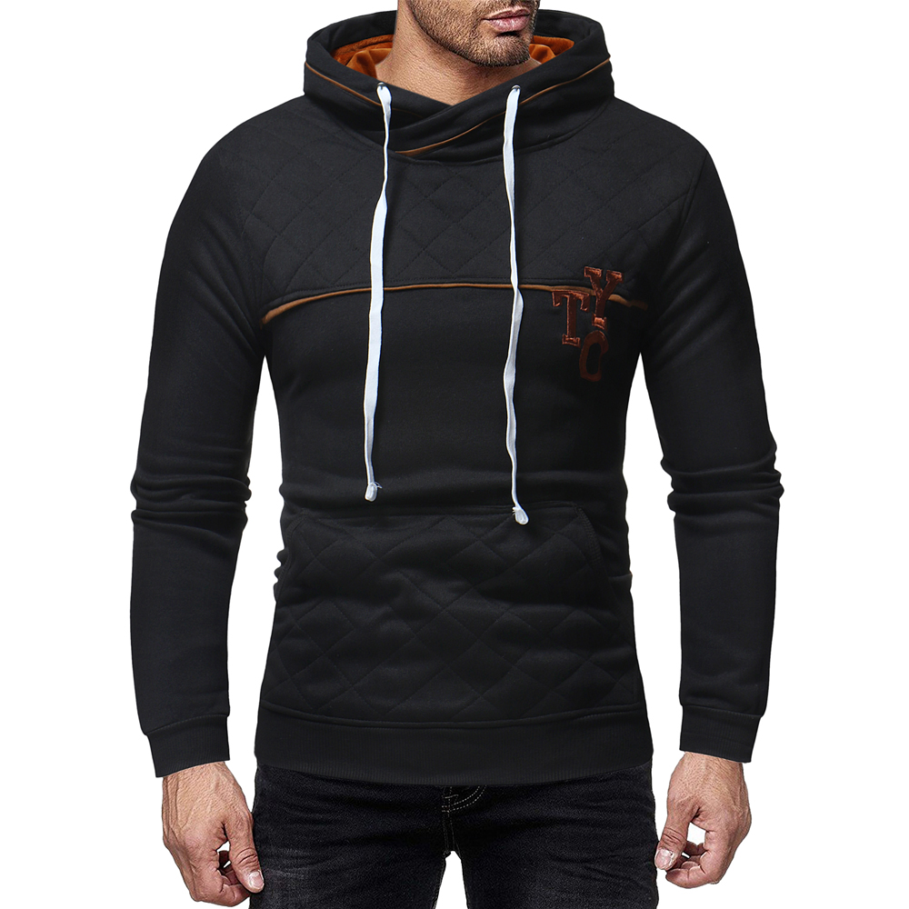 7424b934ff Men s Fashion Big Pocket Trend Letter Embroidery Print Slim Casual Sweater  - Black 3XL