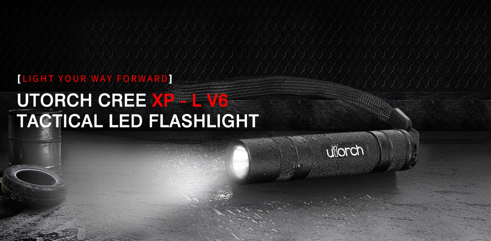 Utorch CREE XPL V6 Portable LED Flashlight with Hand Strap - Black No stepless dimming