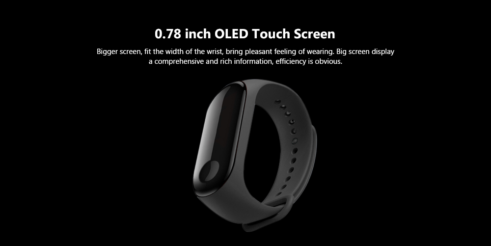 Xiaomi Mi Band 3 Smart Bracelet Bluetooth 4.2 Wristband with Heart Rate Monitor Sleep Monitoring Functions- Black International Version