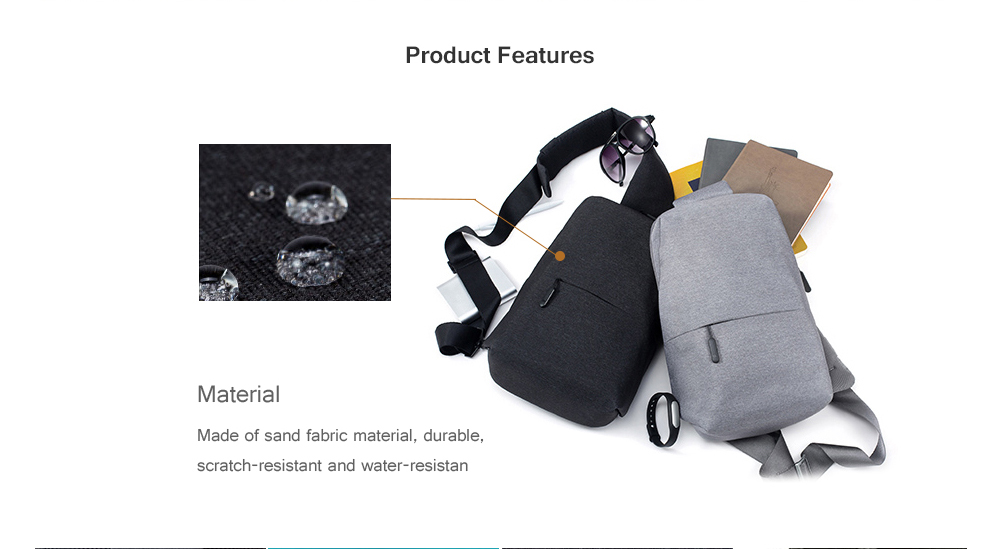 Xiaomi Multifunctional Waterproof Casual Chest Bag for Men- Light Gray Vertical
