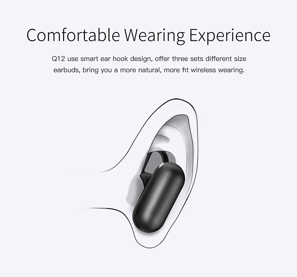 QCY Q12 Mini Invisible Bluetooth Earphone Wireless Single Earbuds with Mic- White