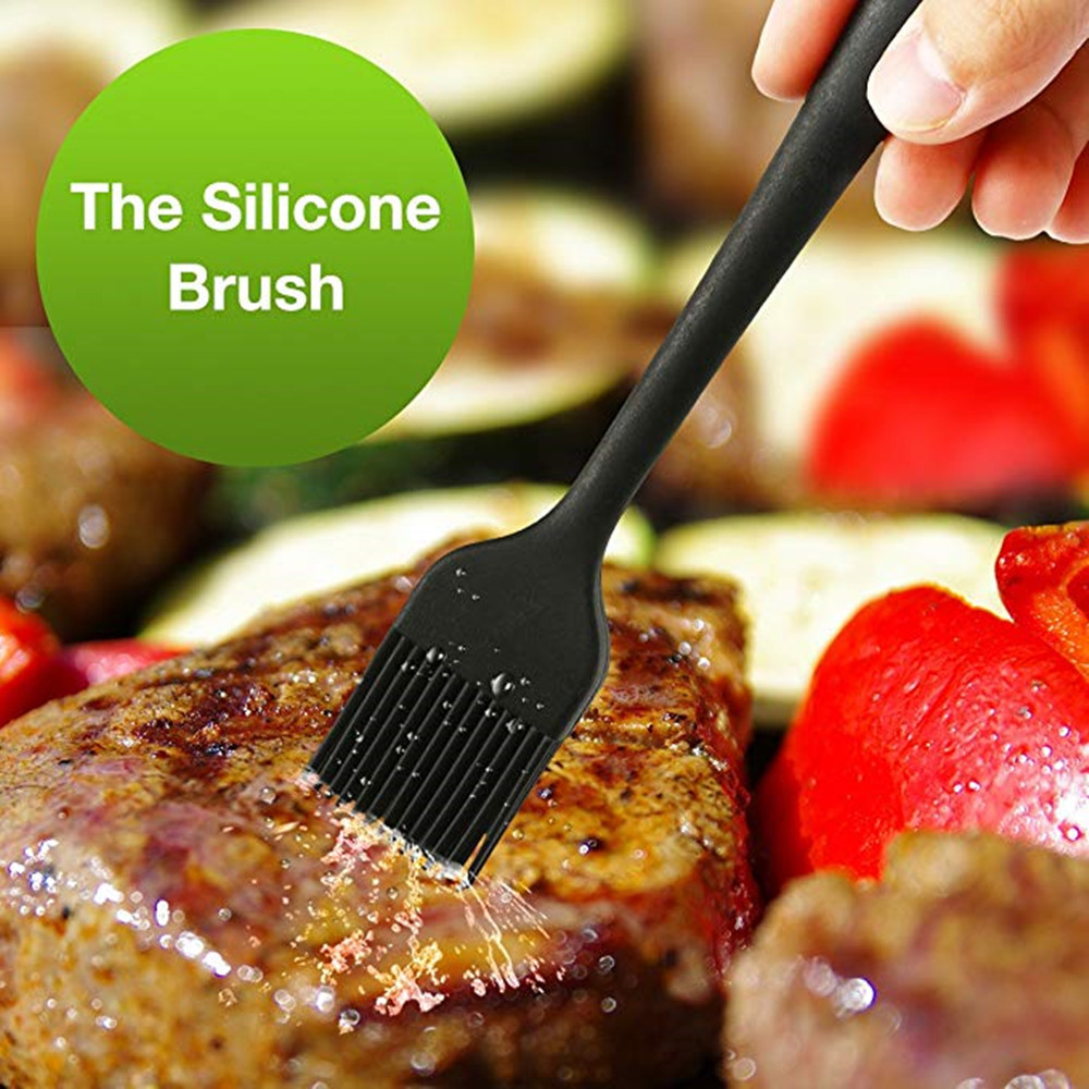 Silicone BBQ Cooking Gloves Meat Shredder Claws Kitchen Tongs  Brush Set- Black