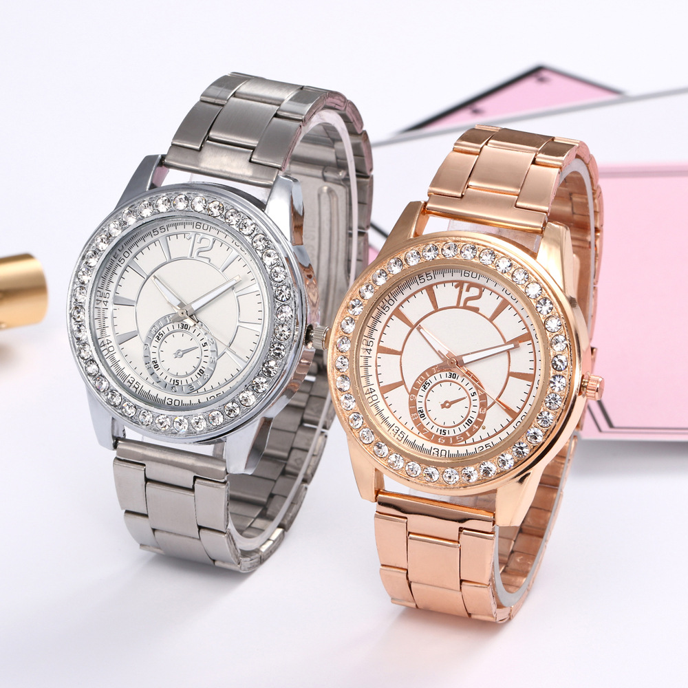 New Fashion Men and Women Single Drill  Steel Band Quartz Watch