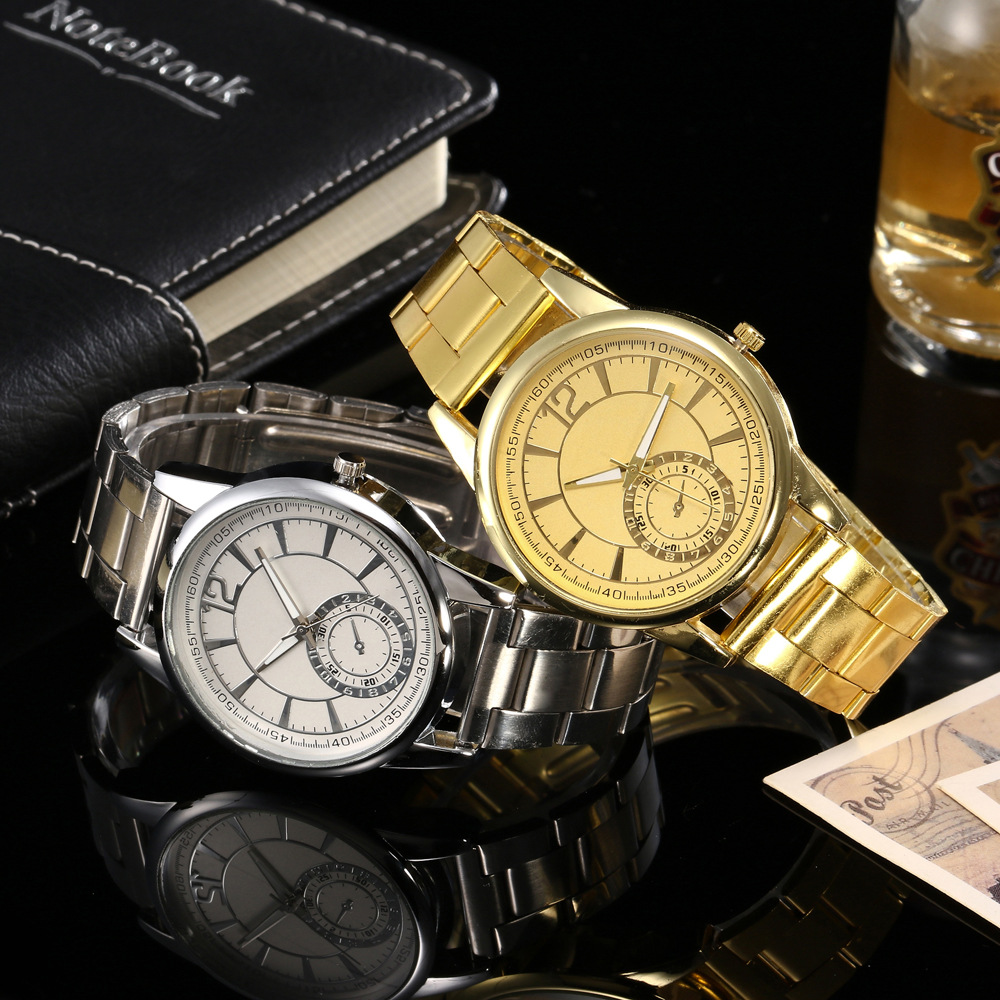 New Fashion Male and Female Double Scale  Steel Band Business Quartz Watch
