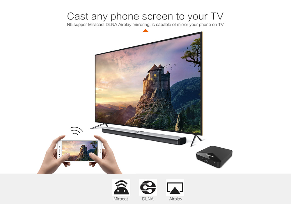 MAGICSEE N5 Android TV OS TV Box Amlogic S905X Android 7.1.2 2GB RAM + 16GB ROM 2.4G + 5G WiFi 100Mbps BT4.1 Support 4K H.265- Black UK Plug