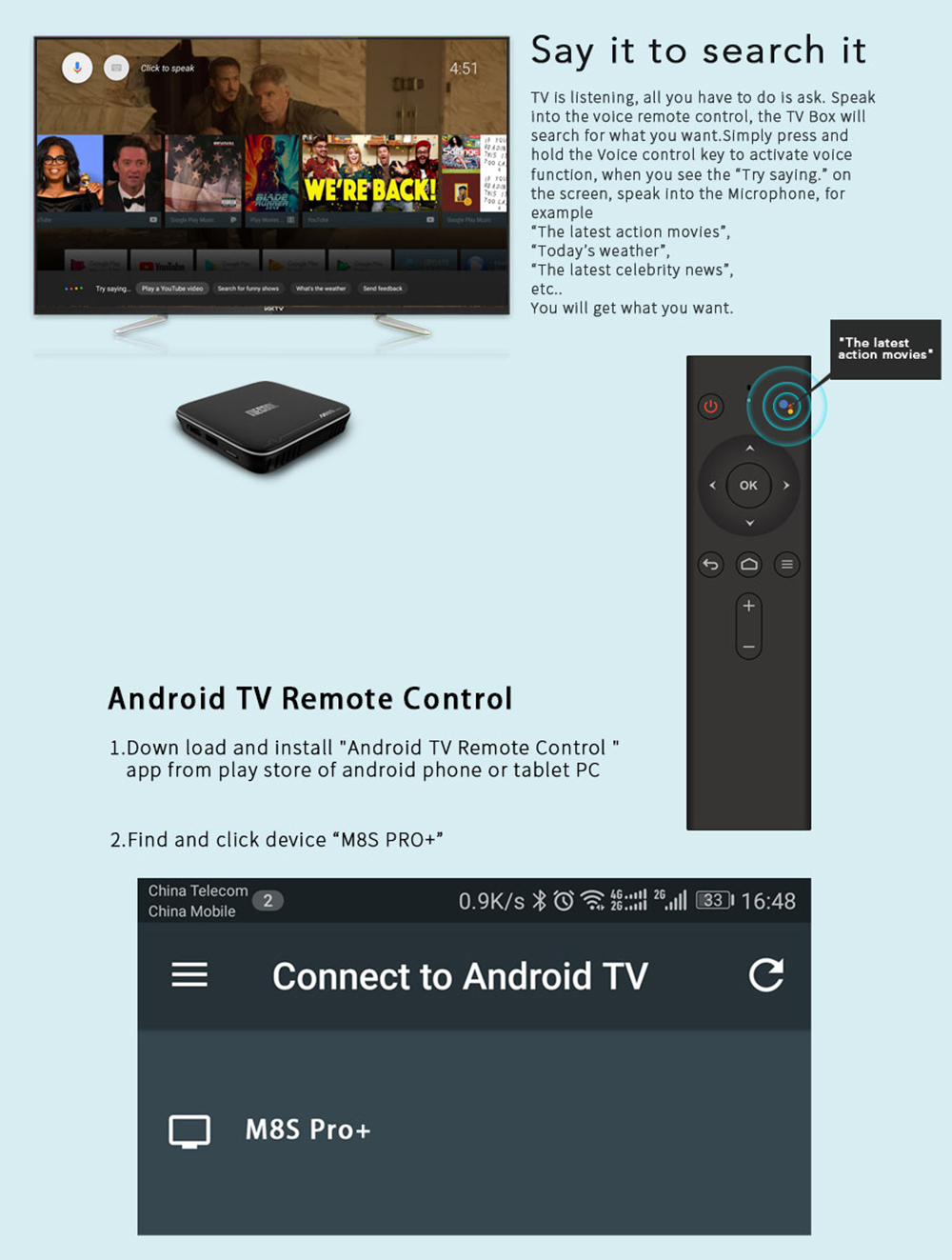 Mecool M8s Pro Android Tv Os Box With Voice Remote Control Download Image Ceiling Fan Wiring Diagram Pc Iphone And Ipad Amlogic S905w 71